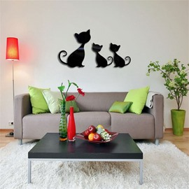 Three Cats Pattern 3D Acrylic TV And Sofa Background Wall Stickers