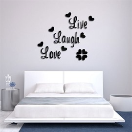 Funny Letter Pattern 3D Acrylic TV And Sofa Background Wall Stickers