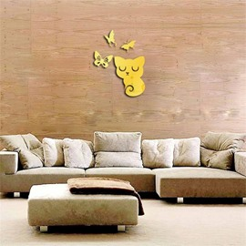 Cats With Butterfly Pattern 3D Acrylic TV And Sofa Background Wall Stickers