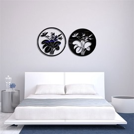 Round Shape Flower Pattern 3D Acrylic TV And Sofa Background Wall Stickers