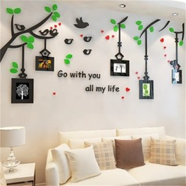 Bird And Flower Pattern Photo Frame Acrylic Material Living Room 3D Wall Sticker
