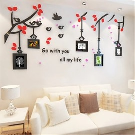Photo Frame Bird And Flower Pattern Acrylic Material Living Room 3D Wall Sticker