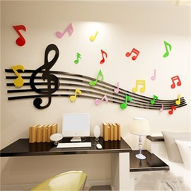 Black Staff Pattern Acrylic Material Living Room 3D Wall Sticker