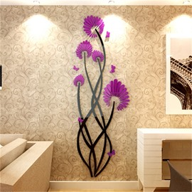 Purple Flower Pattern Acrylic Material Living Room 3D Wall Sticker
