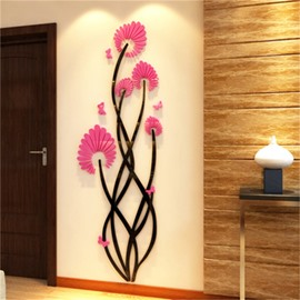 Pink Flower Pattern Acrylic Material Living Room 3D Wall Sticker
