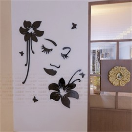 Black Flower And Smiling Face Pattern Acrylic Material Living Room 3D Wall Sticker
