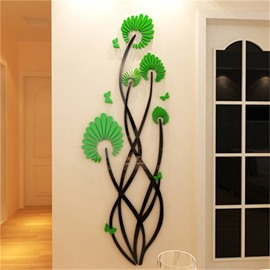 Green Flower Pattern Acrylic Material Living Room 3D Wall Sticker