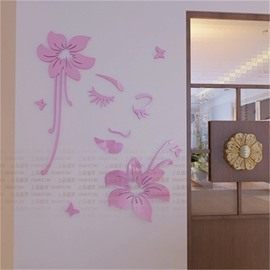 Red Flower And Smiling Face Pattern Acrylic Material Living Room 3D Wall Sticker