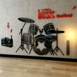 Red Drum Set Pattern Acrylic Material Living Room 3D Wall Sticker