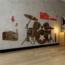 Coffee Drum Set Pattern Acrylic Material Living Room 3D Wall Sticker