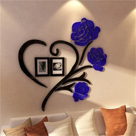 Blue Two Photo Frame Love Heart Pattern Acrylic Material Living Room 3D Wall Sticker