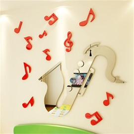 Silver Creative Saxophone Shape Acrylic Material Living Room 3D Wall Sticker