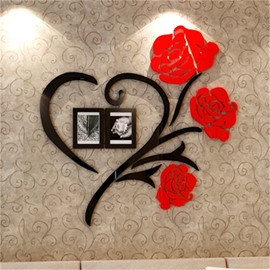 Red Two Photo Frame Love Heart Pattern Acrylic Material Living Room 3D Wall Sticker