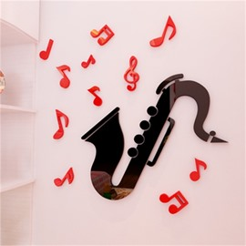 Black Creative Saxophone Shape Acrylic Material Living Room 3D Wall Sticker