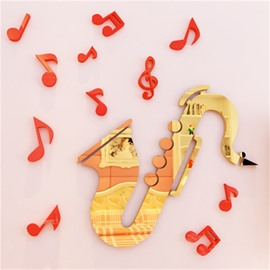 Creative Saxophone Shape Acrylic Material Living Room 3D Wall Sticker
