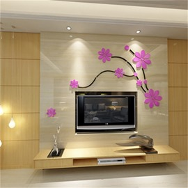 Pink Gorgeous Acrylic Material Floral Pattern Living Room 3D Wall Sticker
