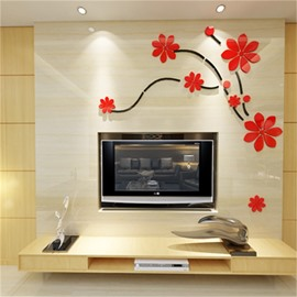 Red Gorgeous Acrylic Material Floral Pattern Living Room 3D Wall Sticker