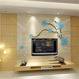 Blue Gorgeous Acrylic Material Floral Pattern Living Room 3D Wall Sticker