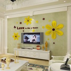 Acrylic Material Flower And Love Letter Pattern Living Room 3D Wall Sticker