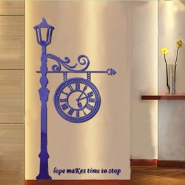 Acrylic Material Lamp And Clock Living Room 3D Wall Sticker