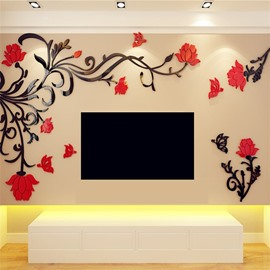 Acrylic Material Flower Pattern Right Side Living Room 3D Wall Sticker