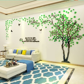 Acrylic Material 5 Color Tree Pattern Right Side Living Room 3D Wall Sticker