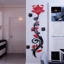 3 Color Acrylic Material Flower Pattern Living Room 3D Wall Sticker