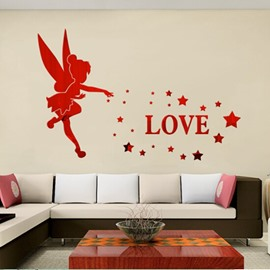 3 Color Acrylic Material Floral And Letter Pattern Living Room 3D Wall Sticker