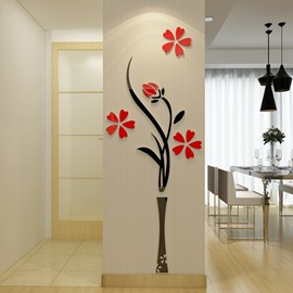 Multifarious Flower Vase Pattern Acrylic Material Living Room 3D Wall Sticke