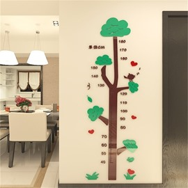Cartoon Tree Pattern Acrylic Material 3D Kids Measuring Sticker