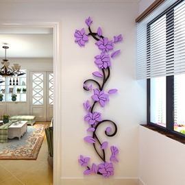 3 Color Creative Vine Pattern Acrylic Material Living Room 3D Wall Sticker