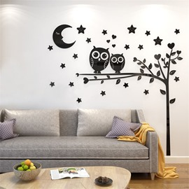 4 Color Left Cartoon Owl Pattern Acrylic Material Living Room 3D Wall Sticker