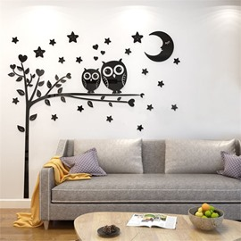 4 Color Right Cartoon Owl Pattern Acrylic Material Living Room 3D Wall Sticker