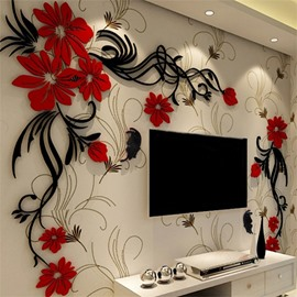 Elegant Flower Vine Pattern Acrylic Material Living Room 3D Wall Sticker