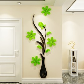 Flower Vase Pattern 4 Color Acrylic Material Living Room 3D Wall Sticker