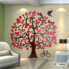 4 Color Acrylic Material Loving Heart Creative Tree Pattern Living Room 3D Wall Sticker