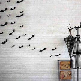 16 Black Bat Halloween Theme 3D Creative Wall Stickers / Wall Decorations