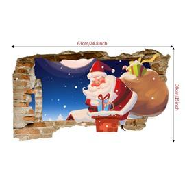 Santa Claus Christmas Cartoon 3D Wall Stickers Self-adhesive Waterproof Stickers