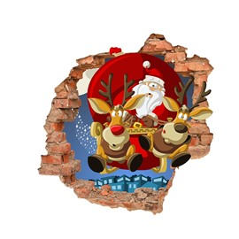 Santa Claus And Christmas Rudolf Cartoon 3D Wall Stickers Self-adhesive Waterproof Stickers