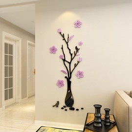 3D Plum Flowers Acrylic Vase Wall Stickers Living Room Bedroom TV Wall Background 3D Creative Wall Decoration