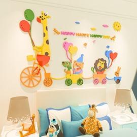 Cartoon Zoo Acrylic Wall Stickers Living Room Bedroom TV Wall Background 3D Animal Wall Decoration