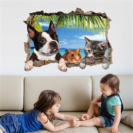 3D Pets Wall Stickers Self-adhesive Waterproof Stickers Creative Decor
