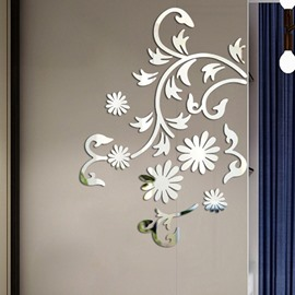 Floral Sliver/Golden Acrylic Mirror 3D Wall Sticker Self-adhesive Home Decor