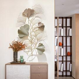 European Style Porch Three-dimensional Rose Gold Leaf Light Luxury Plant Wrought Iron Wall Decoration Corridor Creative Wall Decoratio