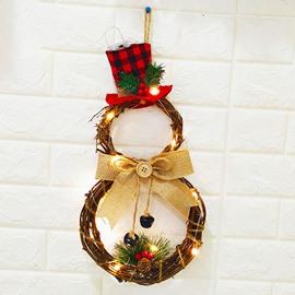 inch Christmas Wreath Front Door Hanging Decor Wreath Ornament Decoration Cute Snowman Wreaths Décor Home Wall Decor