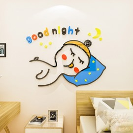 Duck Environmental and Waterproof Cartoon 3D Wall Stickers  Wall Decorations Good Night Bedroom