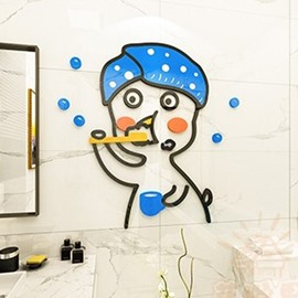 Brushing Duck Environmental and Waterproof Cartoon 3D Wall Stickers  Wall Decorations Bathroom