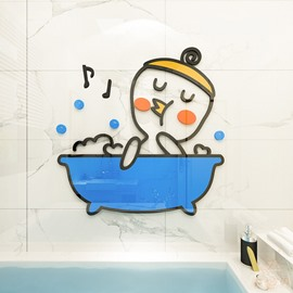 Duck Environmental and Waterproof Cartoon 3D Wall Stickers  Wall Decorations Music Notes Bathroom
