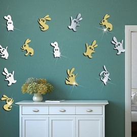 3D Easter Bunny Acrylic Wall Stickers Removable Self-adhesive DIY Wall Decorations