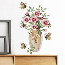 3D Vase Flower Self-adhesive Eco-friendly Wall Stickers Removable waterproof DIY Wall Decorations for Bedroom Living Room
